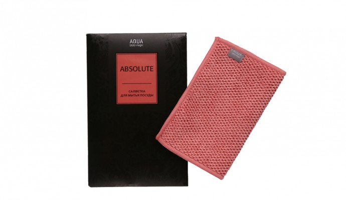 Салфетка AQUAmagic Absolute для мытья посуды пыльная роза AQUAMAGIC